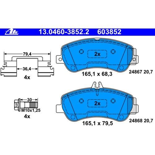 BALATAS DELANTERAS ATE MERCEDES BENZ CLASE GLK GLK300 3.0 2009-2012 Mercedes Glk